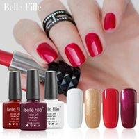 Gel Polish belle nail art - Belle Fille Gel Nail Polish Gold Bling Shining Gels UV LED Blood Red Wine Nail Gel Polish Golden Glitter UV Gel Manicure Art