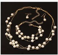 Wholesale Shining Elegant Wedding Bridal Jewelry Prom Gemstone Rhinestone MultilayerPearl Birdal Jewelry Bling Necklace Earring Bracelet Set Christmas