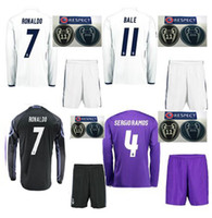 active soccer - Camisetas de futbol real madrid long sleeve shirts shorts with Champions League patches jerseys