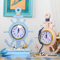 Wholesale Wooden clock mediterranean rudder clock desktop decoration for study or living room wedding gifts for guests x12 inch