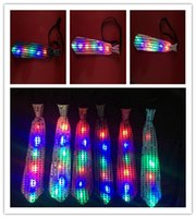 Wholesale 32 cm Luminous men s tie new LED colorful Party tie for men and women Light flash tie night bar props