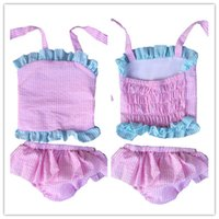 Two-piece Girl Children's Day Wholesale baby girl cute ruffle two pieces set swimsuits kids seersucker linen swimwear bikini suit infant bathsuit