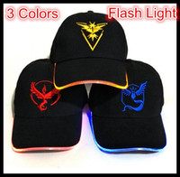 Wholesale LED Flash Adult Poke Go Baseball Caps Fashion Poke Hats Casual Pikachu Caps Adjustable Poke Ball Snapbacks Hats CR2032 Battery Poke Hats