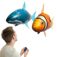 Wholesale 1 Piece remote control flying shark fish blue yellow electric rc animals fish shape inflatable air foil balloons hot sale air swimmers