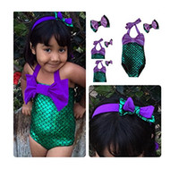 al por mayor nado verde púrpura-Traje de baño Contraste Color Niñas Niñas Una pieza Mermaid Swimwear Headband Set Sirena encantadora Natación Swimmable princesa Purple y Green Color
