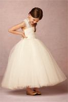 Wholesale Lace Applique Cheap Flower Girl Dresses Ball Gown Princess Lace Ivory Tulle First Communion Gown Custom Made robe de mariage