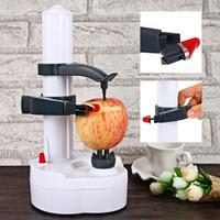Plastic automatic fruit peeler - New Multifunction Automatic Automatic Peelers Machine Electric Fruit Vegetables Peeler with Two Spare Blades Potato Carrot Peeling Machine