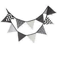 Vente en gros-3,2m Tissu Coton Banner Bunting Drapeaux noirs et blanc Drapeaux Garland spéciale Baby Shower Décoration Tente Décoration 12 Drapeaux