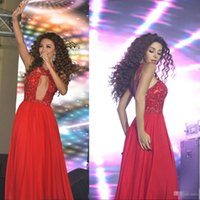 Cheap 2016 Myriam Fares Prom Dresses Red Ball Gowns Sexy Deep Neckline Full Length Chiffon Lace Formal Evening Gowns with Crystals