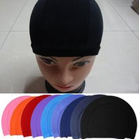 Wholesale New Summer Swim Cap Unisex Women Men Elastic Pure Color Swim Pool Swimming Hat