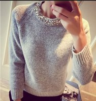 Wholesale Loose Korean Knitted Women Sweater Beading O Neck Solid Casual Slim Ladies Cashmere Sweater Pullover Spring Autumnn Winter
