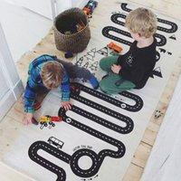 Precio de Los niños juegan-Baby Play Mat Tapiz para Niños Baby Room Rug Tamaño Grande 175 * 70cm Coche Juguetes Jugando Mats Simple Negro Blanco Niños Juego Manta 2109080