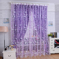 Wholesale Floral Bedroom Livingroom Windows Scarf Sheer Floral Curtain Panel Voile