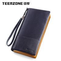 Cheap Teemzone Cowhide Men Wallets Brand Mens Wallet Leather Genuine Large Capacity Men's Clutch Bags Purses And Handbags Mans Bag
