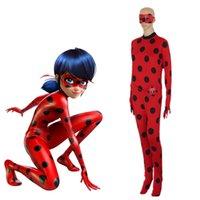 al por mayor piel de anime-Ladybug Marinette trajes de cosplay japonés anime de Francia Miraculous Ladybug Lycra Spandex Body Traje de piel completa del cuerpo apretado