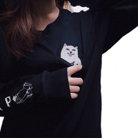alien clothes - Instagram Tumblr Ripndip Middle Finger Cat Pocket T Shirt Women Harajuku Alien Punk Graphic Long Sleeve Tee Tops Couple Clothing