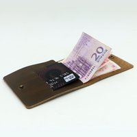 american bank note - Men Wowen Wallets Unisex Short Small Money Clip Genuine Leather Vintage deep brown dark red blue Purse ID holder Bank Credit Card Holders