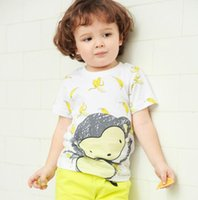 Fashion banana boy - BST15 NEW ARRIVAL Little Maven boys Kids Cotton short Sleeve cartoon banana monkey print T shirt boys causal summer t shirt free ship