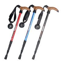 Wholesale outdoor Mountaineering Ultralight Aluminum alloy Alpenstock T Handle four Festival CBM Walking stick