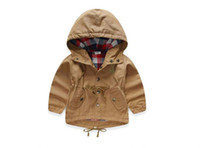 Wholesale 2017 New Spring Children Coats Anchor Embroidery Long Sleeve Outerwear For Kids Waist Draw Cord Hooded Jackets Age K004