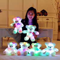 al por mayor oso de peluche lindo cumpleaños-LED Night Light Luminoso Teddy Bear Cute Shining Bear Plush Juguetes Baby Birthday Regalo de Navidad