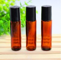 ball glass lids - New Design ml thick glasses brown roll on bottles with steel ball and black lid for Oils and Lip Care