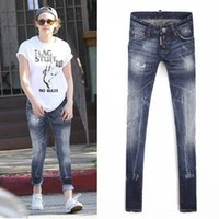 Wholesale Skinny Fit Jeans For Women Fashion Brand Woman Denim Trousers Painted Distressed Bleach Washed Vintage Cowboy Pants Lady
