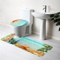 best bathroom mat - Set Bathroom Non Slip Soft Flannel Sea Beach Pedestal Rug Lid Toilet Cover Bath Mat Best Promotion