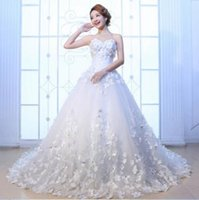 Reference Images Strapless Sleeveless Hot Korean high-grade bra slim bride wedding dress spring flowers and red long tail code thin Princess