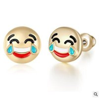 Wholesale Stud Earrings Emoji Enamel For Women Jewelry Fashion Gold Plated Emoticons Small Piercings Earring Christmas Gifts