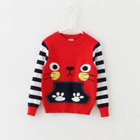 baby boy knitwear - Baby Kids Clothing Boy girls Sweaters Pullover Spring Autumn Cute cat pattern Cotton long sleeve Knitwear Knitting for children