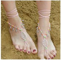 Wholesale DHL free Fashion Women anklet chain jewelry Bracelet Bohemian Beach bikini Barefoot alloy leaf handmade beads Foot Jewelry long Anklet Chain