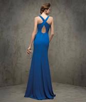 Nueva llegada Grace Karin Sexy Satén Azul Elegante largo formal vestidos de noche 2016 Nuevo vestido de cena de boda de llegada