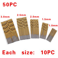 Wholesale 50Pcs Set Twist Drill Bit Set Saw Set HSS High Steel Titanium Coated Drill Woodworking Wood Tool mm For Metal
