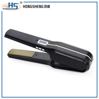 Black battery charged heater - Professional high quality LCD display Tourmaline ceramic large heater rechargeable cordless hair strightener for barber