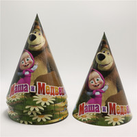 Wholesale Birthday party supplier Cute masha and bear theme party hat cap cartoon paper cap birthday party decoration