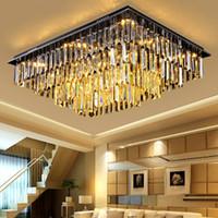 art class - Crystal chandeliers modern smoky gray high class K9 crystal rectangle ceiling chandelier lighting fixture living room bedroom hotel villa