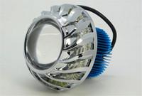 Wholesale 10pcs W Motorcycle Headlight CREE LED Projector Lens Angel Eye Devil Eye Spot Light V Front Head Lamp