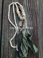 beaded sari - Knot Turquoise Chip Beads Necklace Shabby BoHo Sari Silk Tassel Necklace