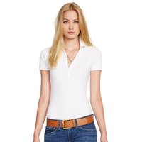 Wholesale New Women POLO Shirt Lapel Short sleeved Shirt Slim Summer Cotton Leisure Female Casual Solid Color POLO shirt