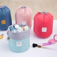 Wholesale 2017 Barrel Shaped Travel Cosmetic Bag Nylon High Capacity Drawstring Elegant Drum Wash Bags Makeup Organizer Storage Bag By DHL