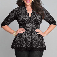 Cheap Plus Size Lace blouses For Chubby Women 3 4 Long Sleeve 2017 Sexy Blusas Shirts Floral Oversized Tops 6 Color DHL Free Ship