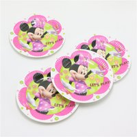 Wholesale Baby Shower Kids Favors Cartoon Minnie mouse Paper Plates Happy Birthday Party Decoration Supplies Dishes Tableware