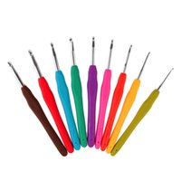 Wholesale 9Pcs TPR Handle Aluminum Hook Crochet Hooks Template Kit High Quality Knitting Needles For Loom Tool Band DIY Crafts