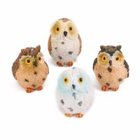 Wholesale Moss Terrarium Decor Cute Owls Animal Resin Miniatures Figurine Craft Bonsai Pots Home Fairy Garden Ornament Decoration