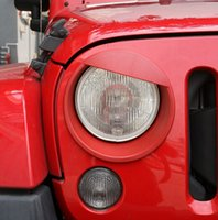 Wholesale eye spectacles Angry Birds Eye Shape Headlights Cover Trims Bezel ABS Black Red Fits For Jeep Wrangler jk up