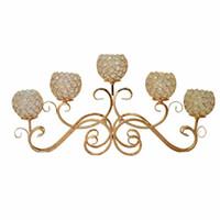 achat en gros de plaque de décoration à domicile-Bouchon de 5 feux de bougie en métal Bougeoir plaqué or / argenté Chandelier en cristal Candelabres