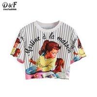 Grossiste Dotfashion Femmes Vertical Striped Girl Imprimer Crop Tops Été Style Cute 2016 Nouveau Casual Ladies Tees T-shirt à manches courtes