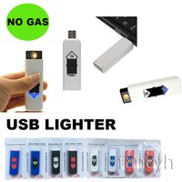 Wholesale Portable Cigarette Lighters USB Electronic Rechargeable Battery Cigarette Flameless Ligtehr Windproof Ultra thin No Gas with retail package