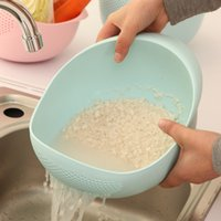 Wholesale Assiette Dishes The Kitchen Is Thickened Rice Washer Washing Basket Home Furnishing Supplies Lek Sieve Dense Hole with Plastic Pot Wholesa